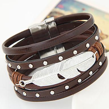 Lær Armbånd - Lær Fjær Personalisert, Unikt design, Vintage Armbånd Svart / Oransje / Brun Til Fest / Bursdag / Gave