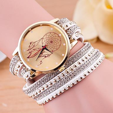 Mulheres Relógio de Moda Bracele Relógio Quartzo Couro Banda Preta Branco Azul Vermelho Verde Rosa Roxa Rose