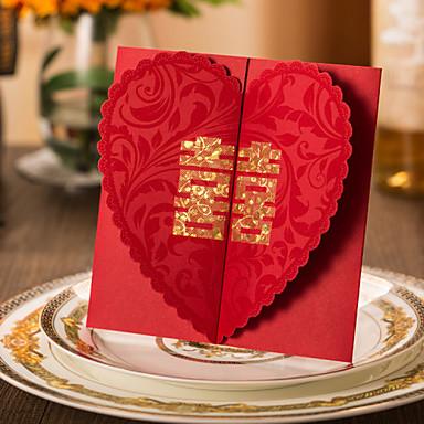שער כפול הזמנות לחתונה כרטיסים למסיבת אירוסין כרטיסי הזמנה סגנון קלאסי נייר כרטיס קשיח