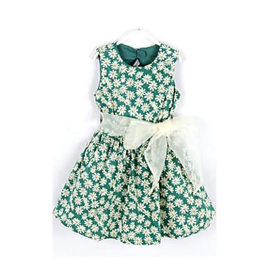 baratos Vestidos para Meninas-Bébé Para Meninas Floral Floral Sem Manga Vestido Vermelho