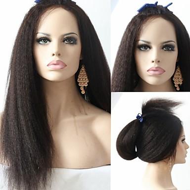 Ljudska kosa Full Lace / Lace Front Perika Kinky Ravno 130% / 150% Gustoća Prirodna linija za kosu / Afro-američka perika / 100% rađeno rukom Žene Kratko / Medium / Dug Perike s ljudskom kosom