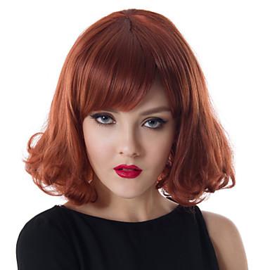 Synteettiset hiukset Peruukit Laineita Suojuksettomat Ruskea