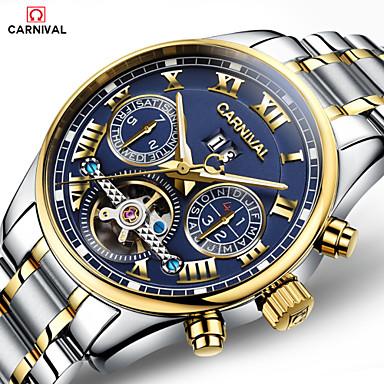 voordelige Herenhorloges-Carnival Heren Skeleton horloge Luchtvaart Watch Automatisch opwindmechanisme Oversized Roestvrij staal Wit / Goud 30 m Hol Gegraveerd Analoog-Digitaal Luxe - Goud / blauw