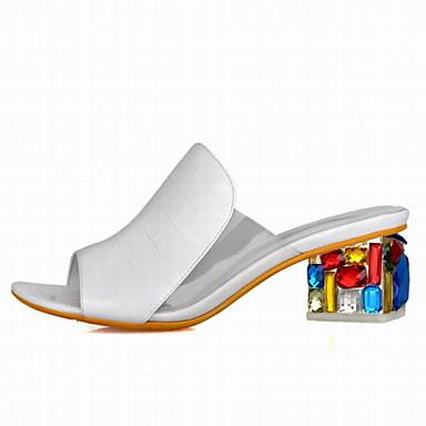 נעלי נשים - סנדלים - דמוי עור - פלטפורמות / נעלים עם פתח קדמי / חדשני - סגול / לבן - משרד ועבודה / שמלה / קז'ואל - עקב עבה