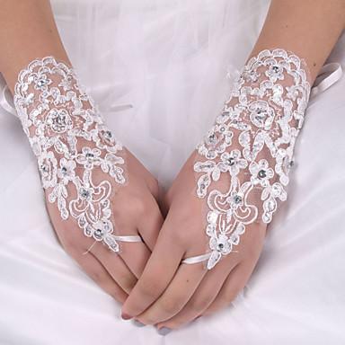 Silk Elastic Satin Wrist Length Glove Bridal Gloves With Bowknot