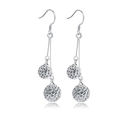 Dame Syntetisk Diamant Dusk Dråpeøreringer - Sølv, Krystall, Fuskediamant Dråpe Klassisk, dusk Sølv Til Bryllup Fest Daglig