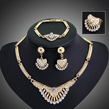 בגדי ריקוד נשים סט תכשיטים זירקוניה מעוקבת ציפוי זהב יהלום מדומה סגסוגת פאר וינטאג' מסיבה אופנתי שרשרת\חוליות Party אירוע מיוחד יוֹם