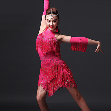 Latin Dance Dresses Women's Performance Spandex Tassel(s) 4 Pieces Dress Gloves Shorts