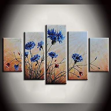 Maalattu Abstrakti / Maisema / Eläin / Abstraktit maisemakuvatModerni 5 paneeli Kanvas Hang-Painted öljymaalaus For Kodinsisustus
