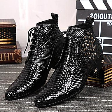 גברים נעליים עור אביב סתיו חורף נוחות מגפיים מגפונים\מגף קרסול ניטים רוכסן שרוכים עבור חתונה מסיבה וערב שחור
