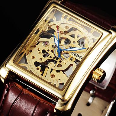 Masculino Relógio de Pulso relógio mecânico Mecânico - de dar corda manualmente Gravação Oca Couro Banda Luxuoso Preta Marrom