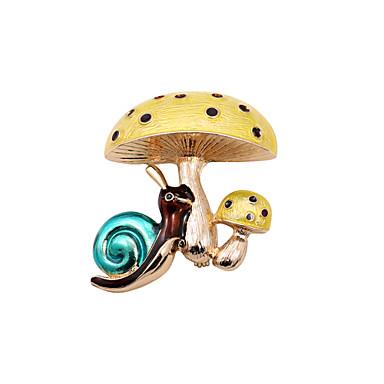 moda feminina bonito cogumelo esmalte e broche de caracol (pacote com saco do presente)