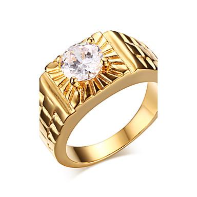 Herrn Statement-Ring Modisch Zirkon vergoldet Modeschmuck Weihnachts Geschenke Hochzeit Party Alltag Normal Sport
