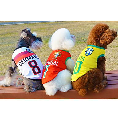 Cães Camiseta Vermelho / Verde / Azul / Amarelo Primavera/Outono Carta e Número Da Moda
