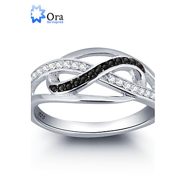 2016 Noble Black Infinite Love Promise Zircon 925 Sterling Silver Ring For Woman&Lady