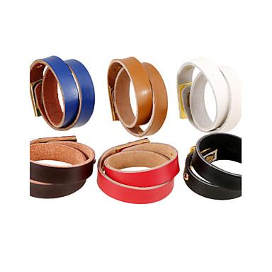 צמידי עור סטייל פאנק ארופאי עור Circle Shape שחור חום אדום כחול חום בהיר תכשיטים ל Party