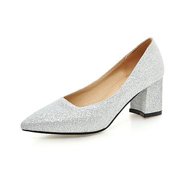 펌프스/힐 - 웨딩 / 드레스 - 여성의 신발 - 힐 / 뾰족한 앞코 - 레더렛 - 청키 굽 - 블랙 / 레드 / 실버 / 골드