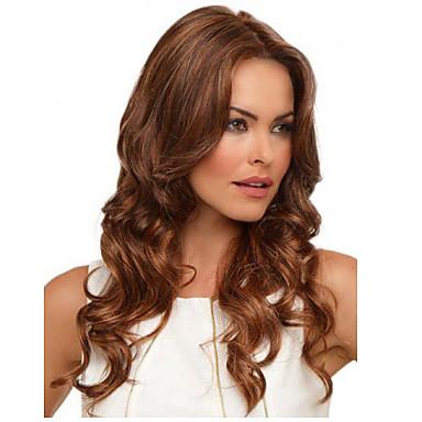 Synthetische Perücken Locken Synthetische Haare Perücke Damen Mittlerer Länge Kappenlos Braun