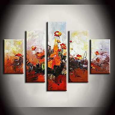 מצויר ביד פרחוני/בוטני בכל צורה, מודרני בַּד ציור שמן צבוע-Hang קישוט הבית חמישה פנלים