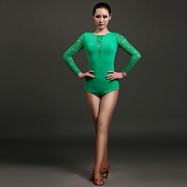 Latin Dansı Strenç Dansçı Kadın's Performans Dantelalar Viskoz Dantel Uzun Kollu Doğal Strenç Dansçı / Tulum