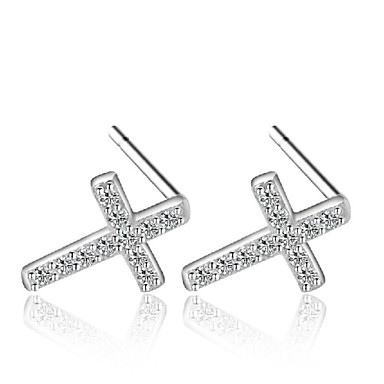 Lureme®  Korean Fashion 925  Sterling Silver Zircon Cross Hypoallergenic Earrings