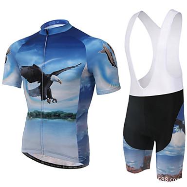 XINTOWN Askılı Şortlu Bisiklet Forması Erkek Kadın's Unisex Kısa Kollu Bisiklet Pedli Şortlar Önlüğü Tayt Forma Giysi Setleri Hızlı