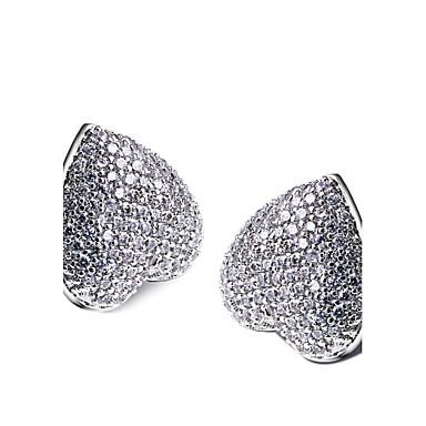 Sitne naušnice Ljubav Kubični Zirconia Platinum Plated Obala Jewelry Za 2pcs