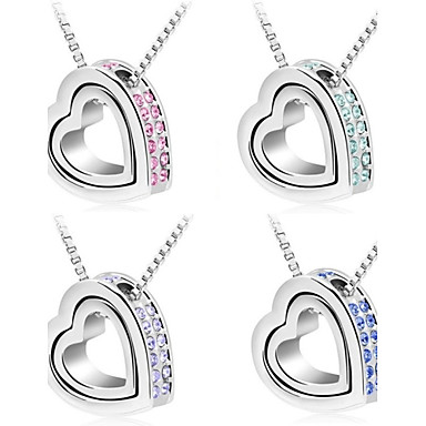 Women's Crystal Pendant Necklace - Crystal Heart Purple, Rose, Blue Necklace For Wedding, Party, Daily