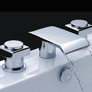 Çağdaş Ayrılmış Gövdeli Şelale Pirinç Vana Üç Delik İki Kolları Üç Delik Krom, Banyo Lavabo Bataryası
