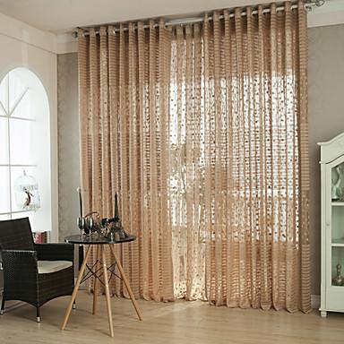 Anéis Único Plissado Dois Painéis Tratamento janela Modern , Oco Sólido Riscas Curva Sala de Estar Poliéster Material Sheer Curtains