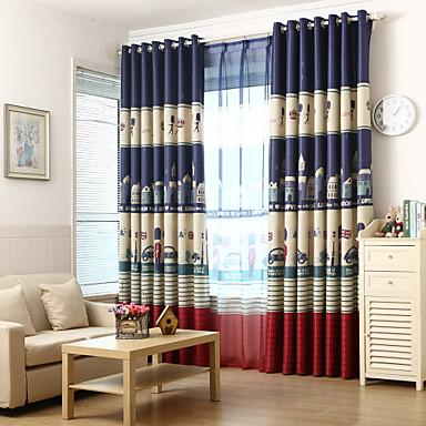 Stanglomme Propp Topp Fane Top Dobbelt Plissert To paneler Window Treatment Moderne Europeisk Middelhavet Neoklassisk Land, Trykk &