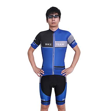 싸이클 반바지 져지 남성의 짧은 소매 자전거 통기성 / 빠른 드라이 / 인체 해부학적 디자인 / 자외선 방지 / 수분 투과율 / 백 포켓 / 땀 흡수 기능성 소재 / 선크림 / 3D 패드 / 압축 / 빛반사 스트립반바지 / 져지+반바지 / 의류