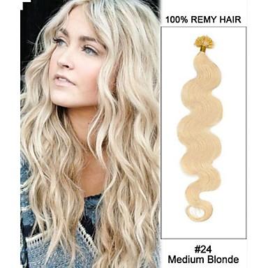 20 '' # 24 keskipitkällä vaaleita body aalto kynsien kärki u kärkeen 100% Remy hiukset keratiini hiusten pidennykset-100 säikeitä, 0,5 g /