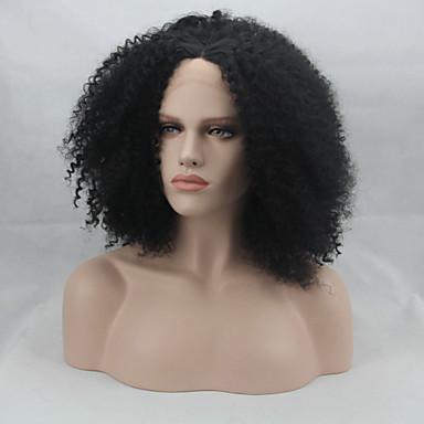 muoti synteettiset peruukit Nyörilliset peruukit afro kihara musta lämmönkestävä peruukit naiset