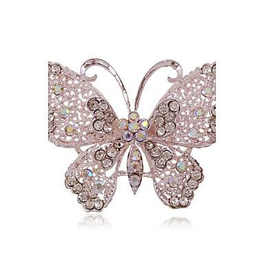 Naisten Rintaneulat - Tekojalokivi, Hopeoitu, Timanttijäljitelmä Butterfly, Animal Ylellisyys, Eurooppalainen, Muoti Rintaneula Käyttötarkoitus Häät / Party / Päivittäin