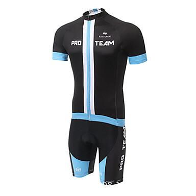 XINTOWN Men's Women's Short Sleeves Cycling Jersey with Bib Shorts - Black Yellow Bike Padded Shorts/Chamois Bib Tights Jersey Clothing