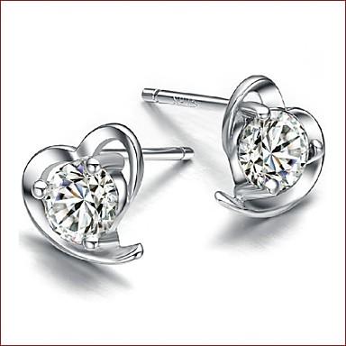 Kadın's Kübik Zirconia Vidali Küpeler - Som Gümüş, Zirkon, Gümüş Kalp Beyaz / Mor Uyumluluk Düğün / Parti / Günlük