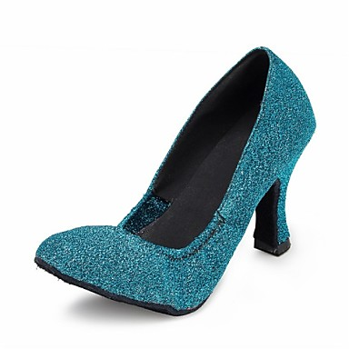 Women's Dance Shoes Latin / Modern / Salsa / Samba Sparkling Glitter Heel Blue Customizable