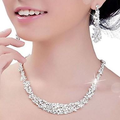 Damen Kristall Strass Silber Hochzeit Party Jahrestag Verlobung Ohrringe Halsketten Modeschmuck