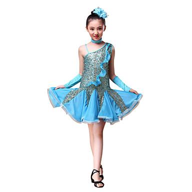 라틴 댄스 드레스 아동용 성능 폴리에스터 반짝이 뤼세 4 개 드레스 글러브 헤드 피스