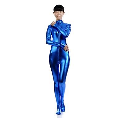 Zentai Drakter Ninja Zentai Cosplay-kostymer Blå Ensfarget Trikot / Heldraktskostymer Kattesuit Zentai Spandex Skinnende Metallisk Herre