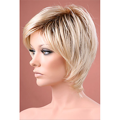 Synthetic Wig Straight Bob Haircut / With Bangs Synthetic Hair Ombre Hair / Dark Roots / Natural Hairline Wig Women's Short Capless