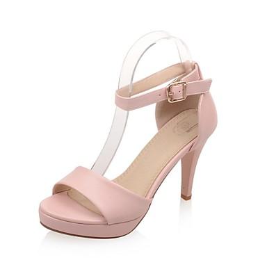 Damen Schuhe Kunstleder Sommer Fersenriemen Stöckelabsatz Plattform für Kleid Party & Festivität Weiß Schwarz Rosa