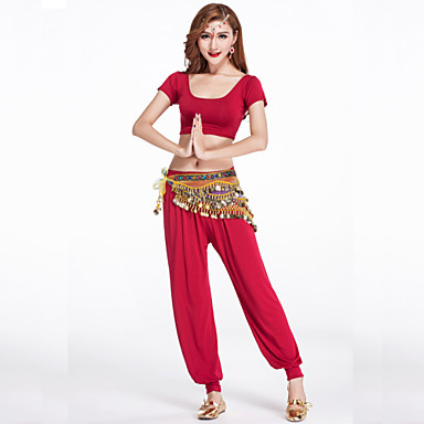 ריקוד בטן תלבושות בגדי ריקוד נשים אימון מודאלי עטוף 2 חלקים שרוול קצר טבעי מכנסיים / עליון S: 31cm/ M: 32cm/ L: 33cm/ XL: 34cm