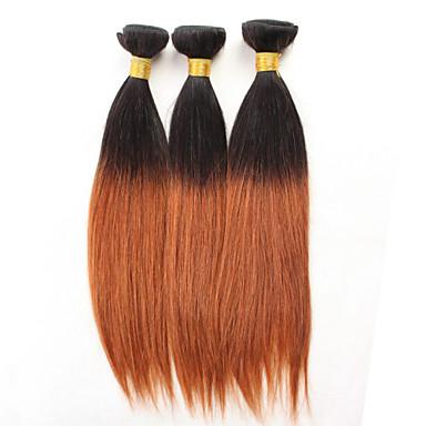 טווה שיער אדם שיער מלזי ישר שישה חודשים 3 חלקים שוזרת שיער