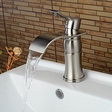 Moderna Conjunto Central Cascata Válvula Cerâmica Uma Abertura Monocomando e Uma Abertura Níquel Escovado , Torneira pia do banheiro
