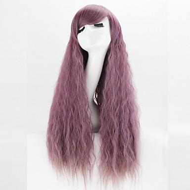 Syntetiske parykker Krøllet / Kinky Curly / Løse bølger Asymmetrisk frisyre Syntetisk hår 22 tommers Naturlig hårlinje Lilla Parykk Dame Lang Lokkløs Grå