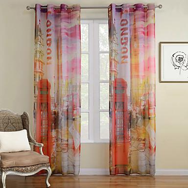 Propp Topp To paneler Window Treatment Moderne , Trykk Stue Polyester Materiale Gardiner Skygge Hjem Dekor