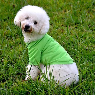 Cães Casacos Vermelho / Laranja / Verde / Azul / Rosa Roupas para Cães Verão / Primavera/Outono Da Moda