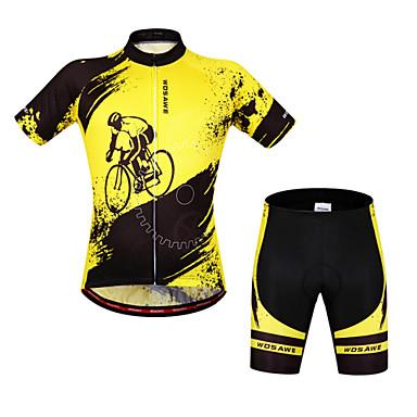 WOSAWE Kratkih rukava Biciklistička majica s kratkim hlačama - Yellow/Black Bicikl Kratke hlače Bib Shorts Biciklistička majica Kompleti
